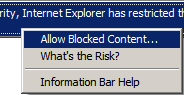 Select Allow Blocked Content from the Blocked Content Warning Bar